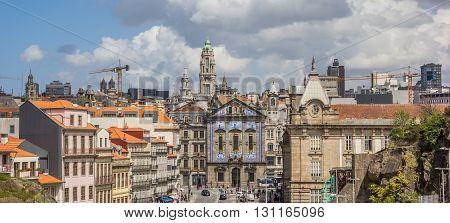 PORTO, PORTUGAL - APRIL 20, 2016: Panoramic cityscape of the historical center of Porto, Portugal