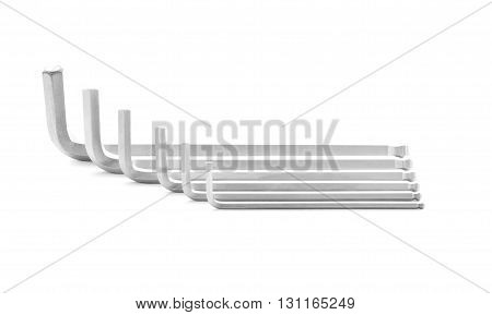 Hex key metal tool for industry isolated on white background