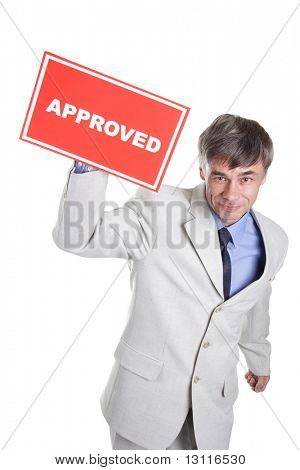 Portrait of a middle age businessman. Your can change inscription. Isolated with clipping path.