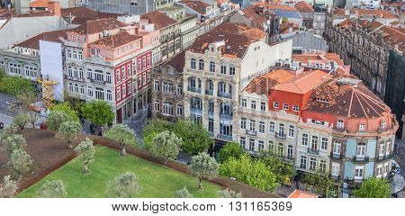 PORTO, PORTUGAL - APRIL 21, 2016: Praca de Lisboa in the center of Porto, Portugal