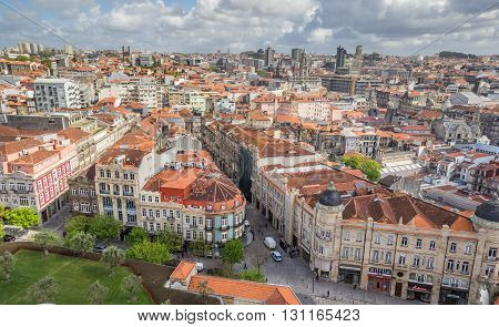 PORTO, PORTUGAL - APRIL 21, 2016: Cityscape of Porto from the historcal Clerigos tower