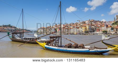 PORTO, PORTUGAL - APRIL 21, 2016: Panorama of classic portwine ships in Porto, Portugal