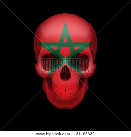 Human skull with flag of Morocco. Threat to national security war or dying out