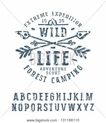 Slab serif font in the style of handmade graphics. Font design for t-shirt