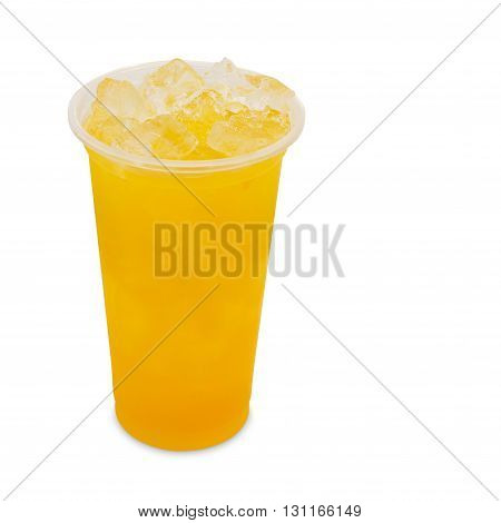 ice tea mango in takeaway glass isolated on white background with clipping path
