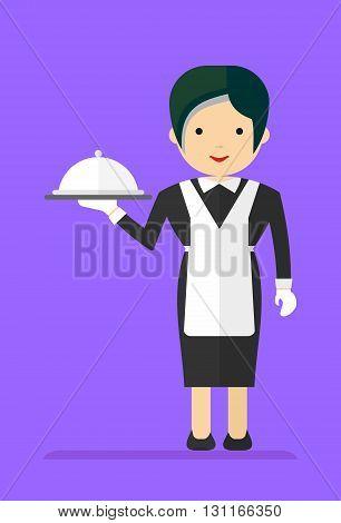 Waitress In A Black Dress