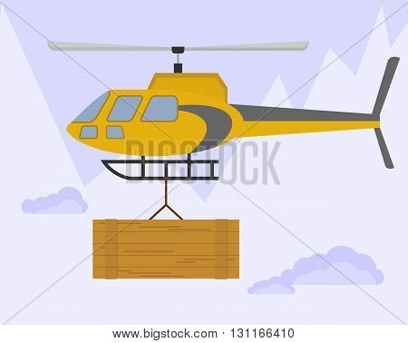 Yellow helicopter carries cargo. Flying over the mountains with a large wooden box. Rescue mission to assist climbers. An avalanche in the mountains. Cartoon flat vector illustration.