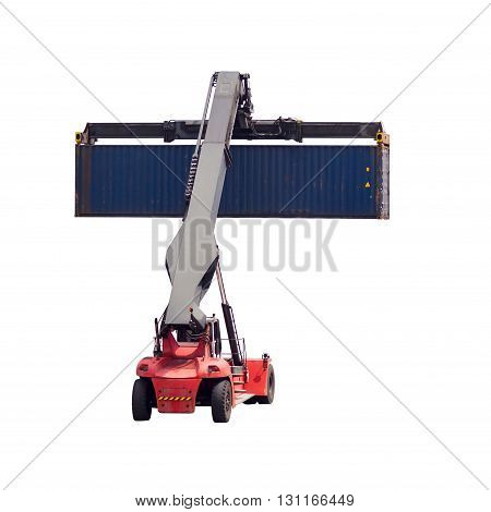 forklift handling the container box isolated on white background with clipping path