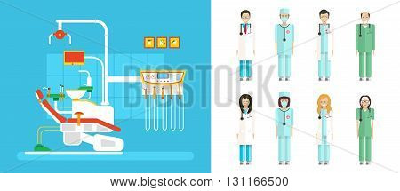 Stock vector illustration set of dental office with dental chair, medical staff in flat style element for infographic, website, icon, games, motion design, video