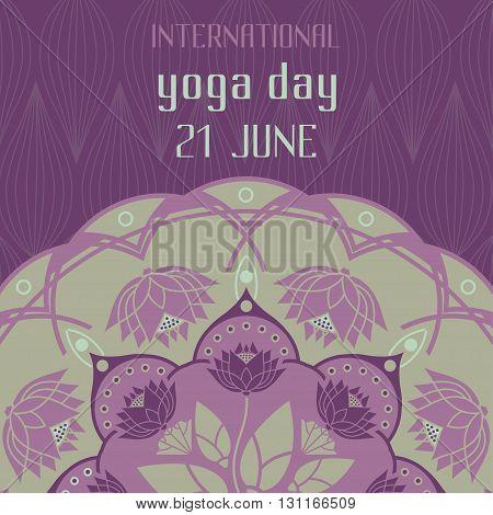 International Day of Yoga lotus decorative emblem design