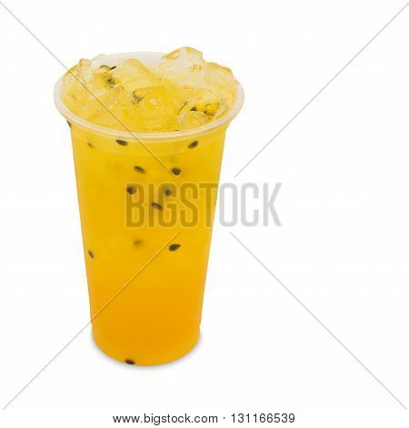 ice tea passion fruit in takeaway glass isolated on white background with clipping path
