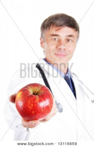 Dietitian with a fruit.