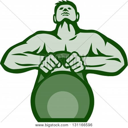 Illustration of an athlete weightlifter looking up lifting kettlebell with both hands viewed from front set on isolated white background done in retro style.