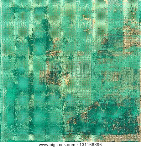 Old style decorative composition or designed vintage template with textured grunge elements and different color patterns: yellow (beige); brown; green; blue; cyan