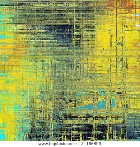 Old grunge vintage background or shabby texture with different color patterns: yellow (beige); brown; blue; red (orange); cyan
