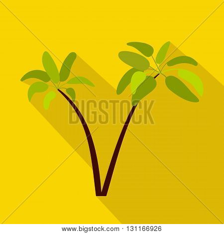 Two palm plant trees icon in flat style on a yellow background