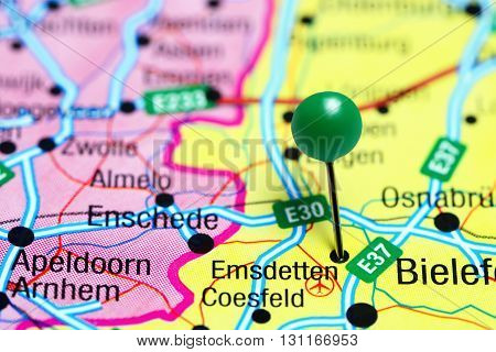 Emsdetten pinned on a map of Germany