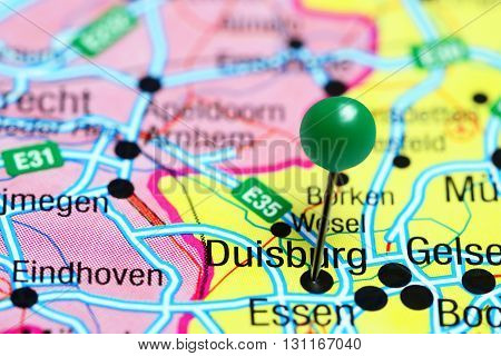 Duisburg pinned on a map of Germany