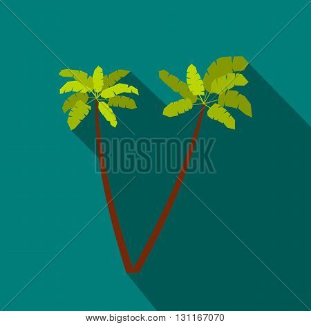Two palm trees icon in flat style on a blue background