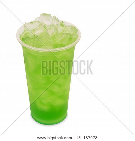 ice green tea with apple fruit in takeaway glass isolated on white background with clipping path