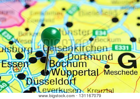 Wuppertal pinned on a map of Germany