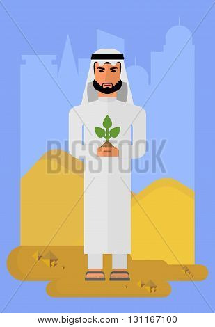 Arabic man in national costume. Muslim Islamic traditions. Businessman concerned about the environment. Cartoon characters icon stylish background.Cartoon design flat vector illustration