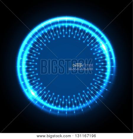 Abstract techno background with spirals and rays with glowing particles. Tech design. Lights vector frame. Glowing dots.  blue, cerulean, cobalt, indigo, sapphire, ultramarine. Neon ring.