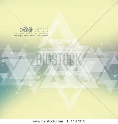 Abstract blurred background with hipster stream flying triangles debris. Pattern. For cover book, brochure, flyer, poster, layout, template, magazine, t-shirt. Vector design. subtle. yellow