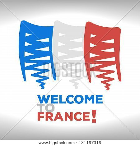 The French flag with an inscription welcome to France