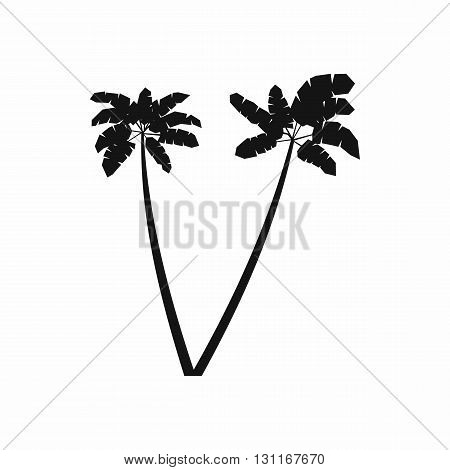 Two palm plant trees icon in simple style on a white background