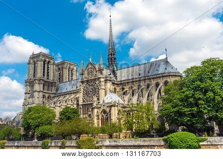 The famous Notre Dame cathedral in Paris on a summer day
