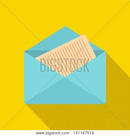 Open envelope with sheet of paper icon in flat style on a yellow background