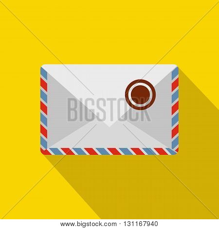 White postage envelope with stamp icon in flat style on a yellow background