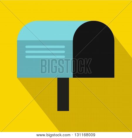Blue mailbox icon in flat style on a yellow background