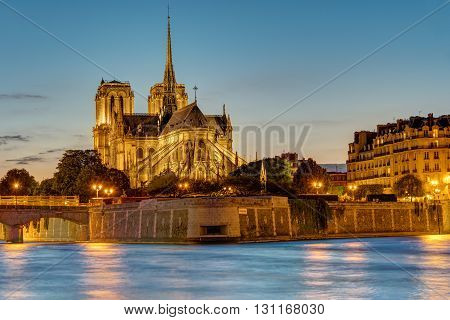 The famous Notre Dame cathedral in Paris at dawn