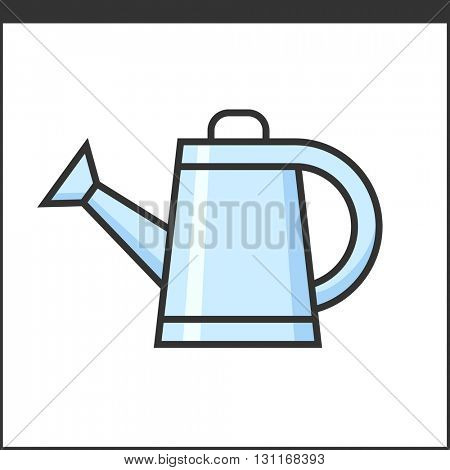 Garden watering pot icon. Vector illustration of hand tool for gardeners