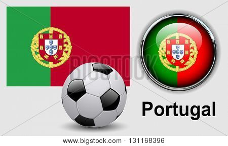 Portugal flag icons with soccer ball, vector design.