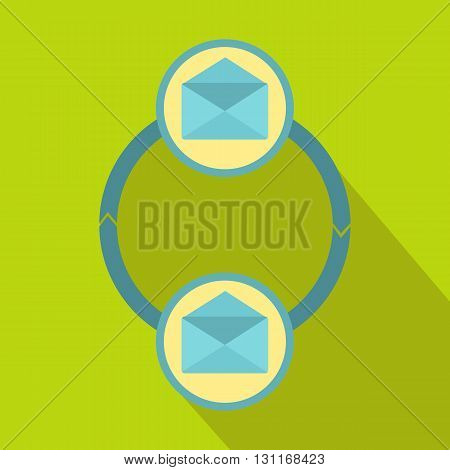 Synchronization messages icon in flat style on a green background