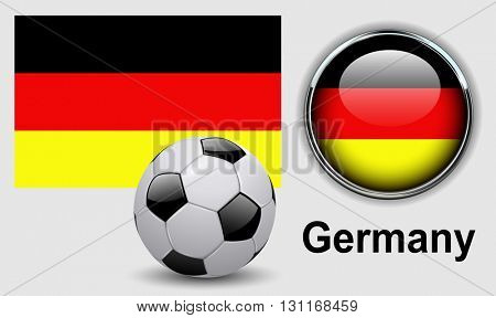 Germany flag icons with soccer ball, vector design.