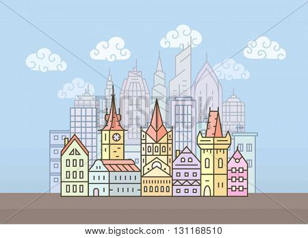 Old european town. City skyline. Town buildings vector illustration