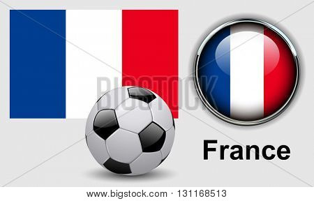 France flag icons with soccer ball, vector design.