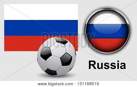 Russia flag icons with soccer ball, vector design.