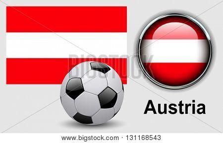 Austria flag icons with soccer ball, vector design.