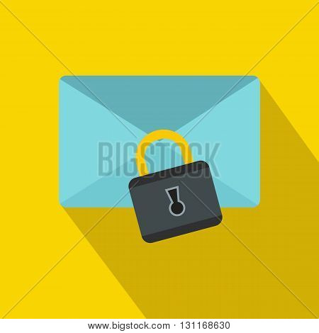 Blue envelope with padlock icon in flat style on a yellow background