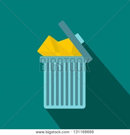 Trash can icon with envelopes icon in flat style on a blue background