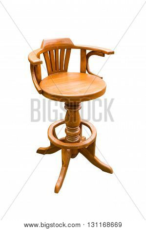 wooden round chair isolated on white background with clipping path