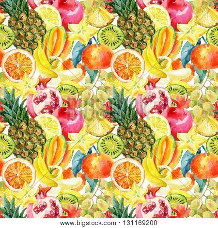 Exotic watercolor fruit mix seamless pattern. Tropical pineapple orange lemon tangerine pomegranate grapes banana star fruit background. Hand painted summer illustration