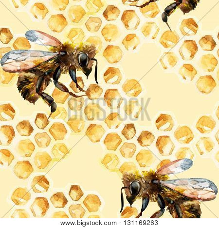 Watercolor bees and honeycomb seamless pattern. Honey background for your design in retro style. Hand painted illustration