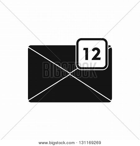 Envelope with 12 messages icon in simple style on a white background