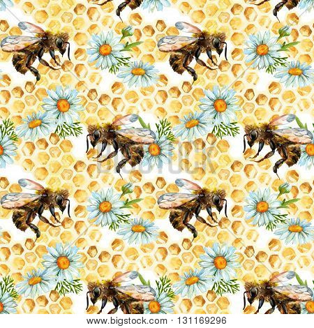 Watercolor bees flowers and honeycombs seamless pattern. Honey background for kitchen design in retro style. Hand painted illustration